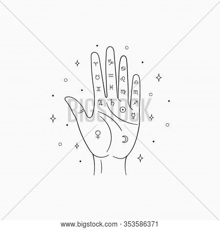 Palmistry Vector. Witch And Magic Symbol, Monochrome Palmistry Illustration, Isolated On White Backg