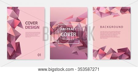 Vector Set Of Triangle Polygonal Abstract Background, Facet Nude Red, Brown Covers, Flyers, Brochure