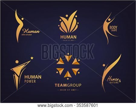 Vector Abstract Silhouette People, Human Logo Design. Gym, Fitness, Sport, Dance Web Icon And Symbol