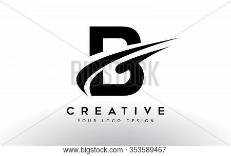 B, Logo, Swoosh, Letter, Design, Creative, Typography, Logo, Corporate, Business, Concept, Vector, S