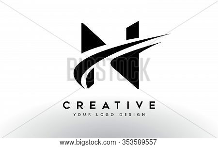 N, Logo, Swoosh, Letter, Design, Creative, Typography, Logo, Corporate, Business, Concept, Vector, S