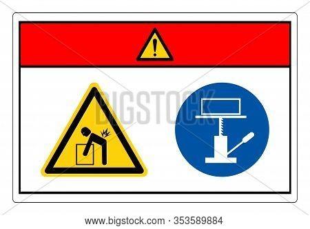 Danger Lift Hazard Use Mechanical Lift Symbol Sign, Vector Illustration, Isolate On White Background