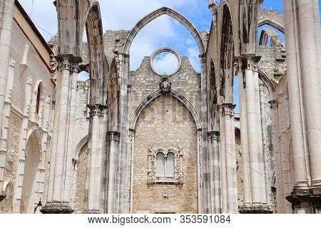 Lisbon City Landmark In Portugal. Carmo Convent - Church Ruined After Earthquake.