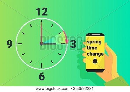 Spring Time Forward. Summer Clock Change. Daylight Saving Time. Vector