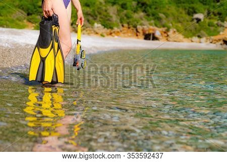 Unrecognizable Mature Female With Snorkel Equipment Flippers And Snorkeling Mask Tube On Beach Sea S