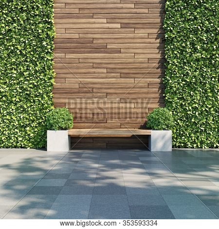 Decorative wooden wall with vertical green garden, bench in shade of tree, 3D illustration, rendering.