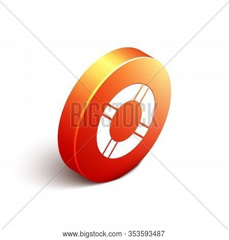 Isometric Lifebuoy Icon Isolated On White Background. Life Saving Floating Lifebuoy For Beach, Rescu