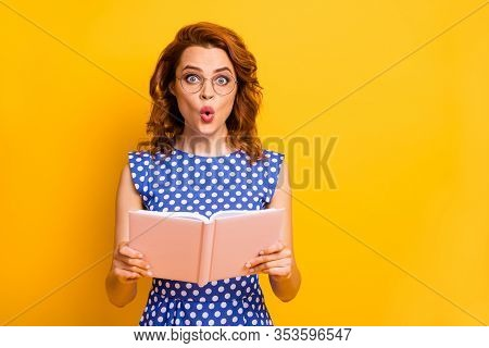 Photo Of Beautiful Shocked Lady Hold Novel Book Hands Open Mouth Not Believe Intrigue Ending Wear Sp