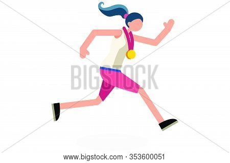 Female Person Celebrate Summer Games Athletics Medal. Sportive People Celebrating Track And Field Ru