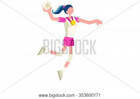 Female Person Celebrate Summer Games Athletics Medal. Sportive People Celebrating Handball Team. Han