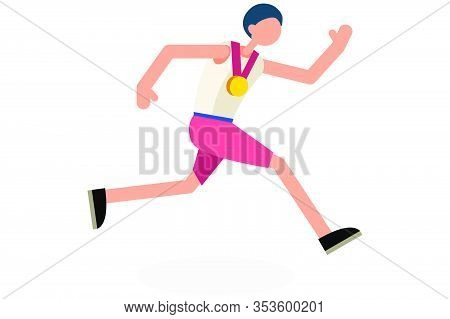 Male Person Celebrate Summer Games Athletics Medal. Sportive People Celebrating Track And Field Runn