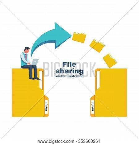 File Sharing. Transfer Of Documentation. Businessman With Laptop Transmits Folders With Files. Trans