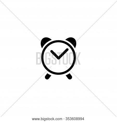 Classic Analog Alarm Clock. Flat Vector Icon Illustration. Simple Black Symbol On White Background.