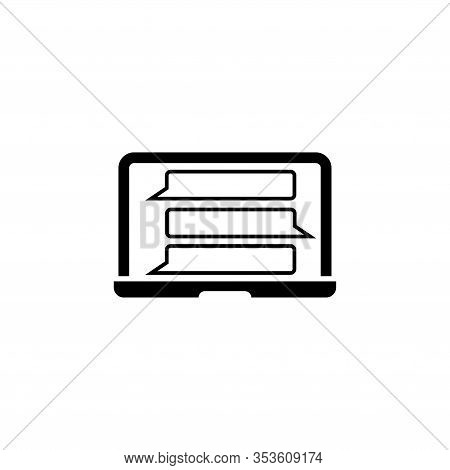 Question And Answer Chat, Online Chatting. Flat Vector Icon Illustration. Simple Black Symbol On Whi