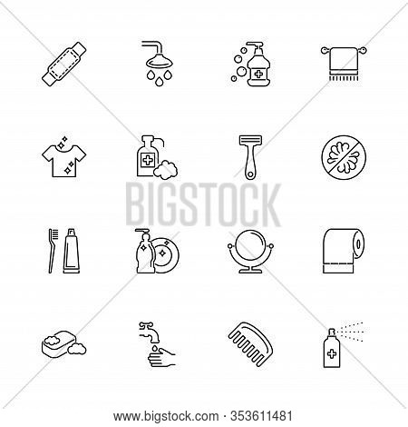 Hygiene Fight, Sanitary Outline Icons Set - Black Symbol On White Background. Hygiene Fight, Sanitar