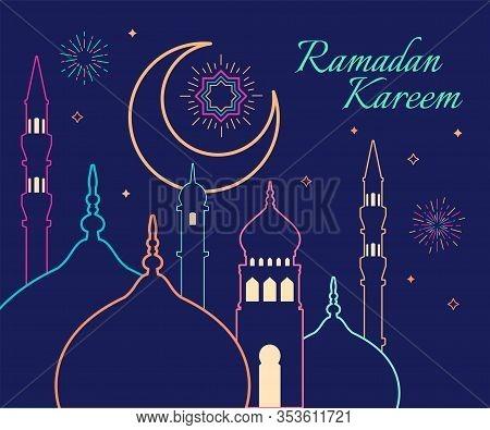 Linear Art Of Arabic Geometric Art. Islamic Mosque And Crescent Moon. Ramadan Kareem - Glorious Mont