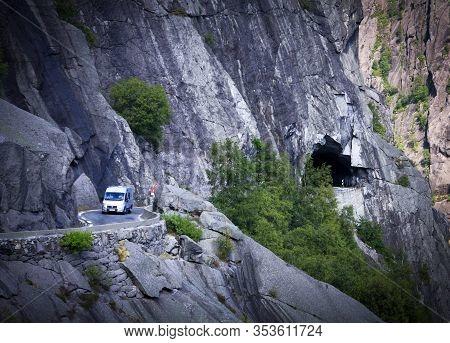 JØssingfjord , Norway On July 04. Serpentine Mountain Road In Steep Mountain Terrain On July 04, 200