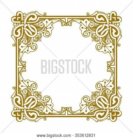 Golden Vintage Ornament Pattern Frame, Border Ornament Pattern Frame, Engraving Ornament Pattern Fra