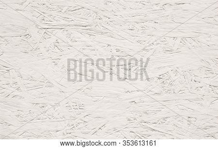 Abstract Grunge White Background. Decorative Texture Banner Of Oriented Strand Board. Wallpaper Of P