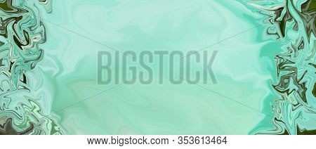 Banner Template With Malachite Texture. Multicolored Abstract Pattern, Green Copy Space. Decorative