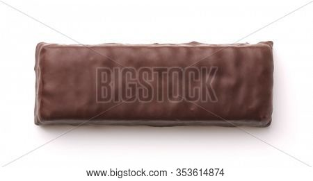Top view of unwrapped chocolate bar isolated on white