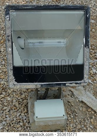 Dubai Uae - November 2019: Close Up Outdoor Led Lamp On The Yard. Large Outdoor Light For Building C