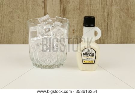 Spencer, Wisconsin, U.s.a. , March, 1, 2020  Bottle Of Jackson Morgan Banana Pudding Cream Rum    Ja