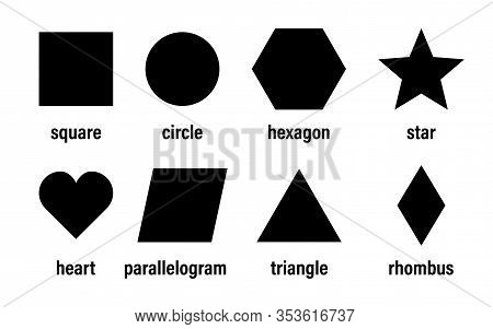Geometric Basic Shapes Vector Isolated Element Design. Abstract Geometric Frame. Badges Black Icon,