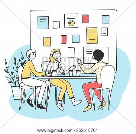 Young People Discussing Business Development Vector Illustration. Office Employees Brainstorming And
