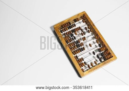Wooden Abacus On A White Background.