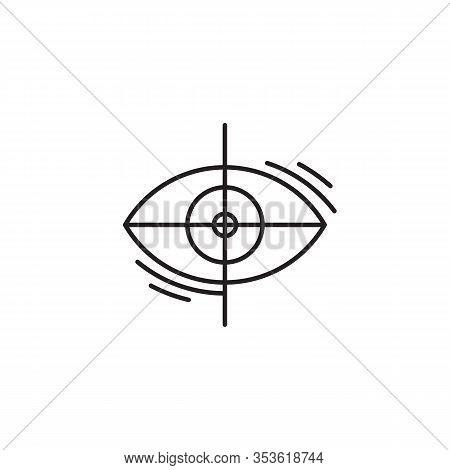 Laser Eye Surgery Linear Icon. Vector Minimal Illustration Of Outline Eye With Cross. Editable Strok