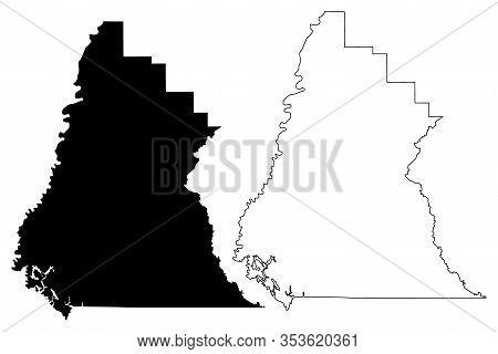 Liberty County, Florida (u.s. County, United States Of America, Usa, U.s., Us) Map Vector Illustrati