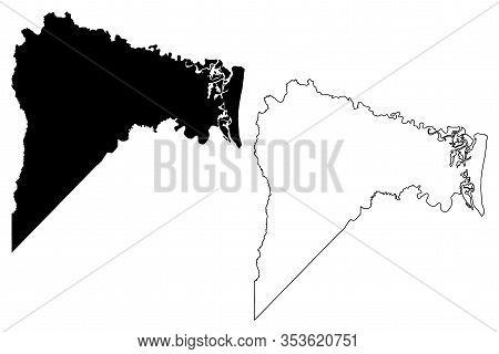 Nassau County, Florida (u.s. County, United States Of America,usa, U.s., Us) Map Vector Illustration