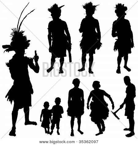 Tribe People Vector Silhouette