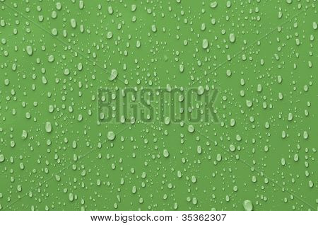 Water Droplets On Green Metallic Surface