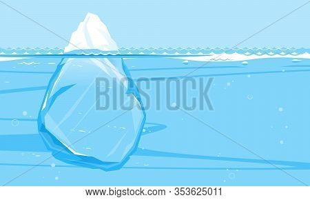 One Big Full Iceberg In The Sea, Sample Creative Illustration Of Full Iceberg With Place For Text