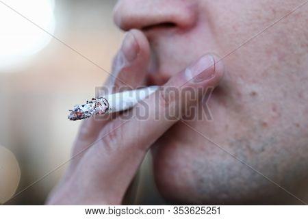 Close Up Man Smoking Cigarette, Addictive Habit. Harm Smoking On Human Body. Respiratory Tract Disea