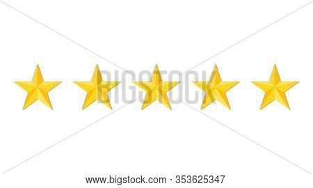 Five Stars Quality Or Rating Product On White Background. Gold Stars For Restaurant, Hotel Premium L