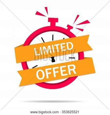 Orange Limited Offer Labels With Red Clock Alarm. Marketing, Discount, Shopping Concept. Banner Big