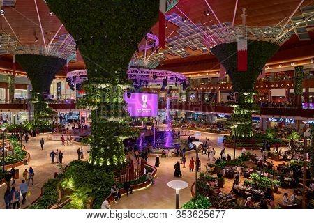 Doha ,Qatar -December 27 , 2019 : Mall of Qatar the largest shopping mall of Qatar