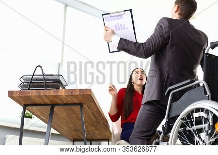 Man In Suit Got Up From Wheelchair, Girl In Shock. Communicate Correctly With Others And Deal With S