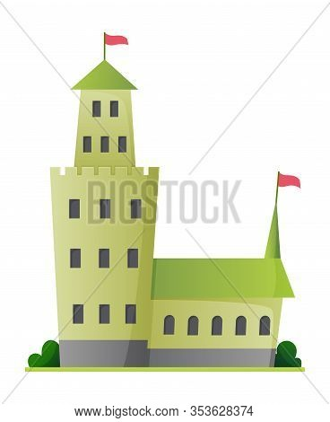 Flat Vector Fairy Tale Castle. Medieval Palace With High Towers And Conical Roofs. Fortress Or Stron