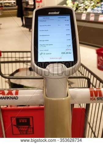 Malmö, Sweden - February 1, 2020: The Grocery Store Ica Maxi Has Updated The Firmware Of The Hand Sc