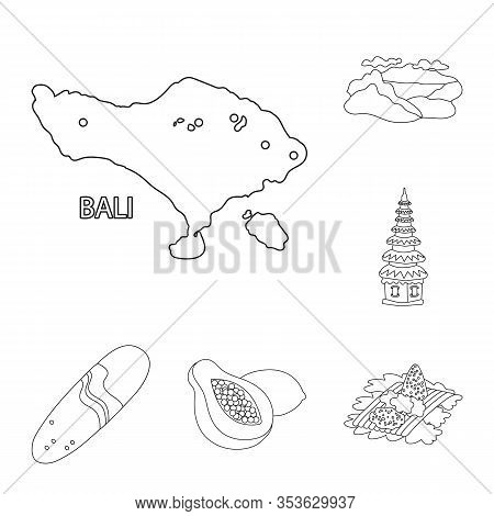 Vector Illustration Of Balinese And Caribbean Symbol. Collection Of Balinese And Geography Stock Vec