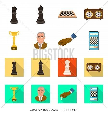 Vector Design Of Checkmate And Thin Sign. Set Of Checkmate And Target Stock Vector Illustration.