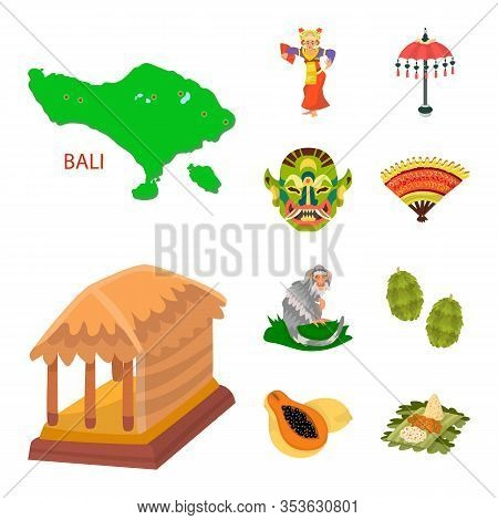 Vector Design Of Bali And Indonesia Logo. Collection Of Bali And Caribbean Stock Symbol For Web.