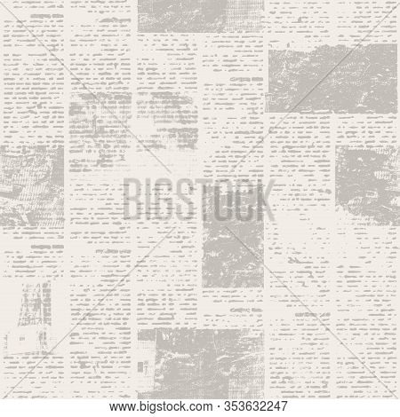 Newspaper Texture Paper With Old Unreadable Text And Images. Vintage Blurred News Pattern Square Bac