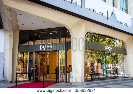 Paris/france - September 10, 2019 : The Hugo Boss Luxury Store On Champs-elysees Avenue