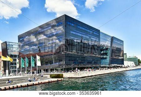 Copenhagen, Denmark - July 15, 2017: Exterior View Of The Building Of The Danish Royal Library (det