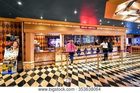 North Sea - July 19, 2017: Guests At The Reception On Board The Cruise Ship Costa Favolosa Of The Sh